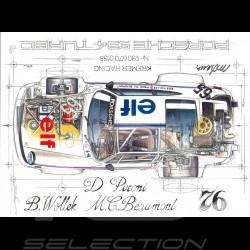 Porsche 934 Turbo Kremer Racing Signatur Le Mans 1976 n° 65 Original Zeichnung von Sébastien Sauvadet
