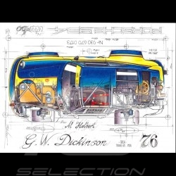 Porsche 934 Turbo G.W. Dickinson SCAA Trans-Am 1976 dessin original de Sébastien Sauvadet