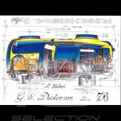 Porsche 934 Turbo G.W. Dickinson SCAA Trans-Am 1976 original drawing by Sébastien Sauvadet