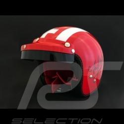 Casque Helmet Helm Jo Siffert 1968 réplique n° 6 / 100 rouge bandes blanches drapeau suisse avec visière - S