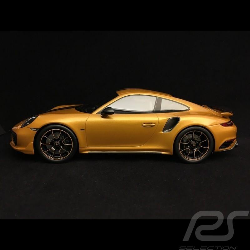 Porsche 911 Turbo S Exclusive Series 991 2017 or jaune 1/18 Spark WAP0219040h yellow gold Gelbgold