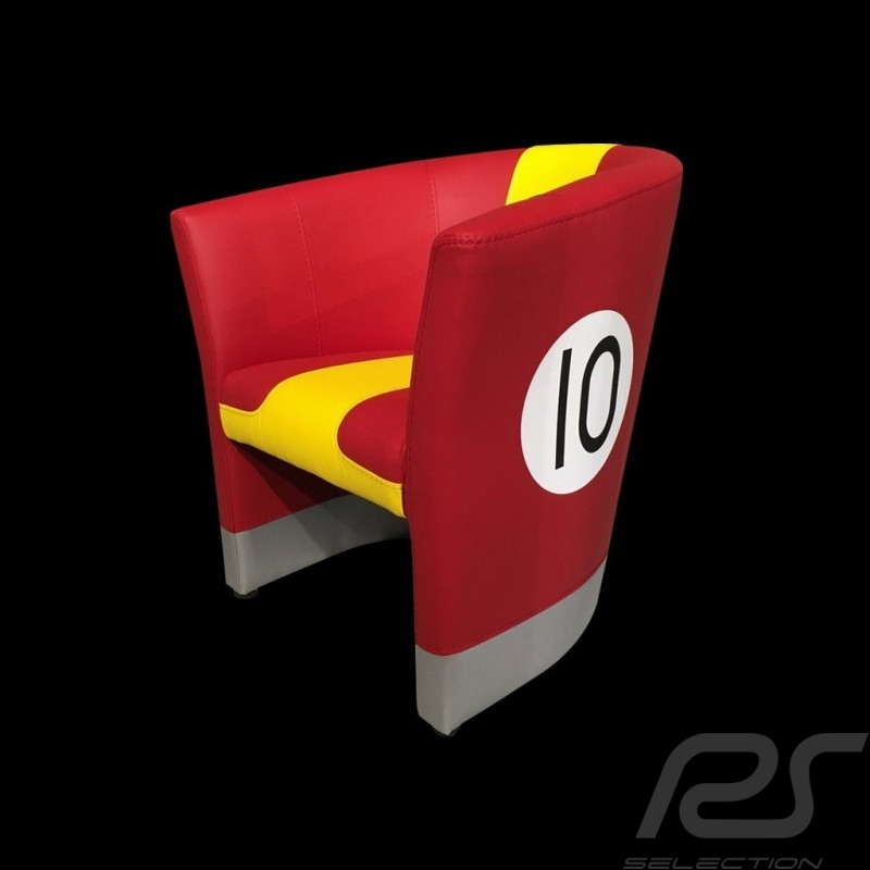 Fauteuil cabriolet Tub chair Tubstuhl  Racing Inside n° 10 rouge / jaune / gris 512MLM71