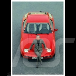 Postcard Porsche Ferry sitting on a red 928 1978 10x15 cm