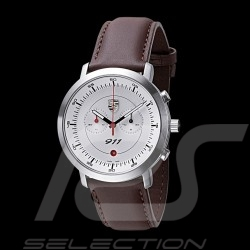 Montre Watch Uhr Chrono Porsche 911 Classic blanche / bracelet brun Porsche Design WAP0700070F