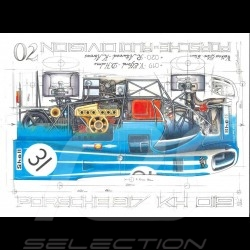 Porsche 917 KH 6h Watkins Glen 1970 n° 31 original drawing by Sébastien Sauvadet