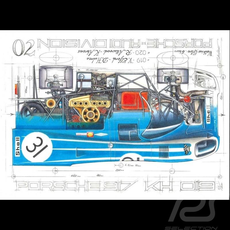 Porsche 917 KH 6h Watkins Glen 1970 n° 31 Original Zeichnung von Sébastien Sauvadet