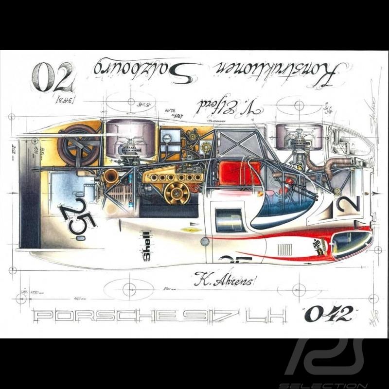 Porsche 917 LH 24h Le mans 1970 n° 25 dessin original drawing zeichnung de Sébastien Sauvadet