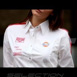 Chemisier Gulf vintage blanc - femme Blouse Gulf vintage white - women Bluse Gulf vintage weiß - Damen