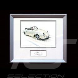 Porsche Poster 356 Pre A cabrio ivoire - Reproduction imprimée d'une peinture de Uli Ehret - 421 - Painting Gemâlde