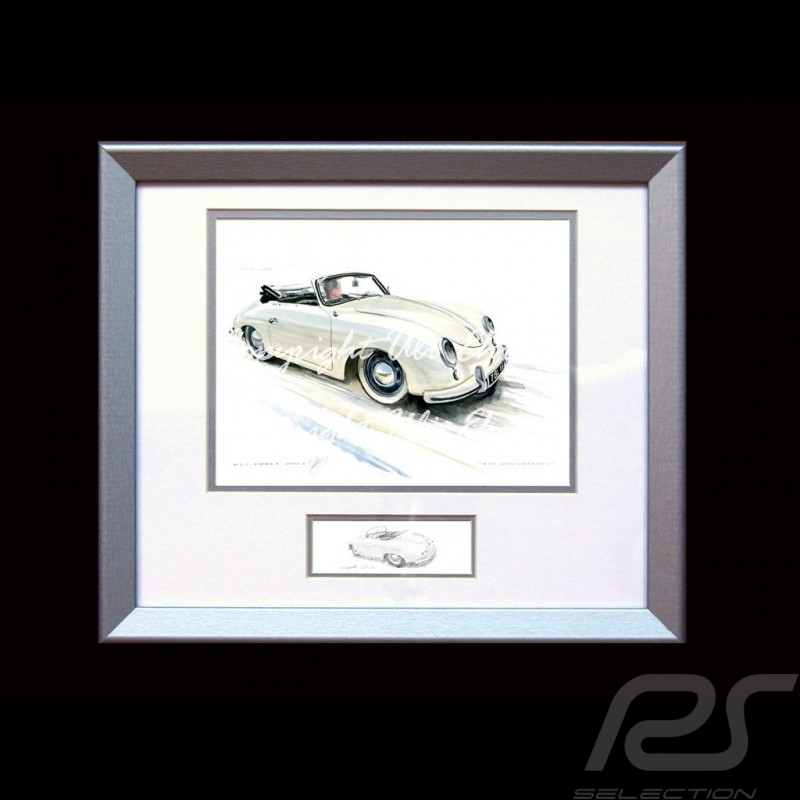Porsche Poster 356 Pre A cabrio Elfenbein - Kunstdruck eines Gemäldes von Uli Ehret - 421