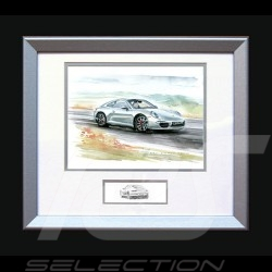 Porsche Poster 911 type 991 white - Printed reproduction  of a painting by Uli Ehret - 593