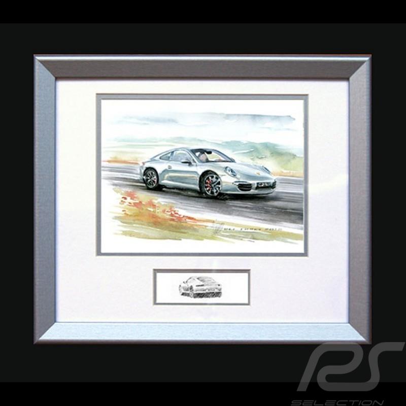 Porsche Poster 911 type 991 blanche - Reproduction imprimée d'une peinture de Uli Ehret - 593 - Poster Plakat
