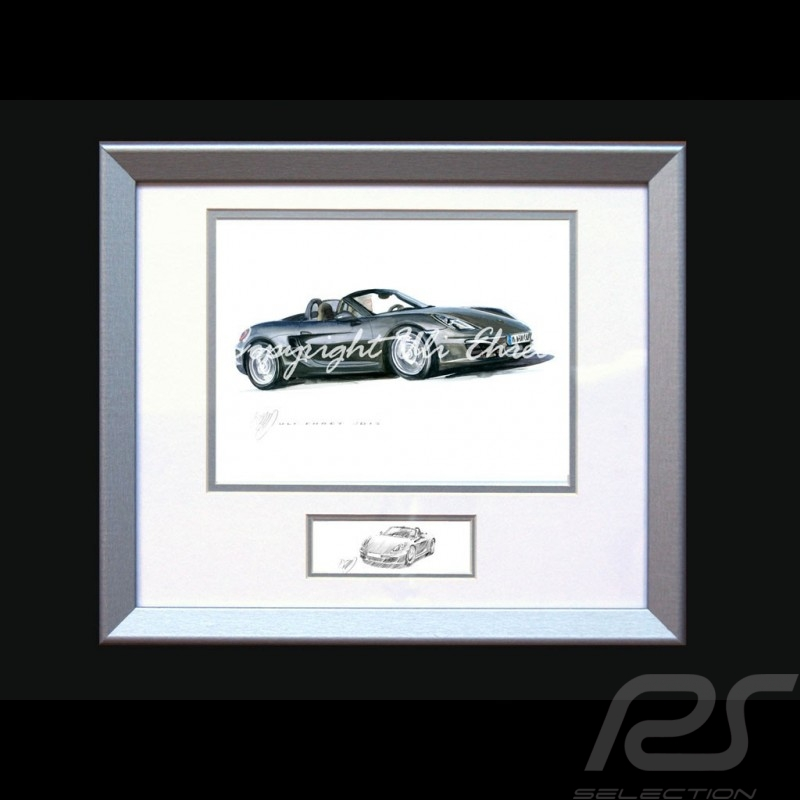 Porsche Poster Boxter 981 black with frame limited edition signed by Uli Ehret - 545