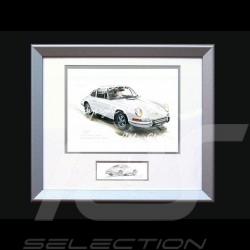 Porsche Poster 911 Klassische weiß mit Rahmen limitierte Auflage signiert von Uli Ehret - 527