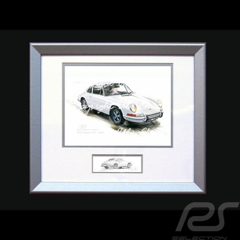 Affiche Porsche 911 Classique blanche avec cadre édition limitée signée Uli Ehret - 527 - Poster Plakat