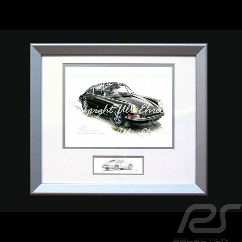 Porsche Poster 911 Classic black with frame limited edition signed by Uli Ehret - 527
