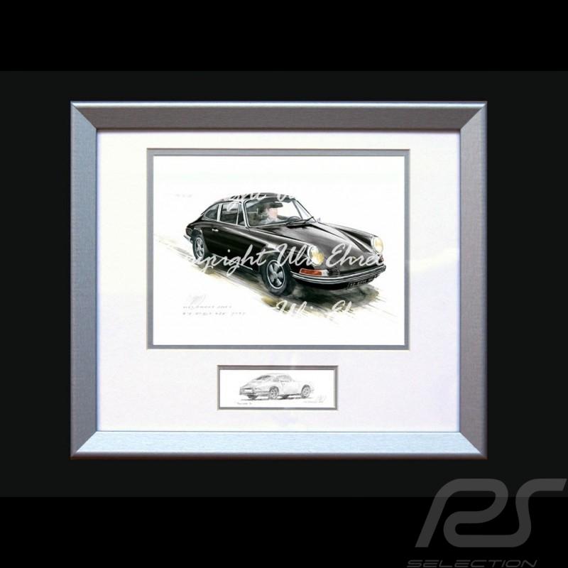 Porsche Poster 911 Klassische schwarz mit Rahmen limitierte Auflage signiert von Uli Ehret - 527