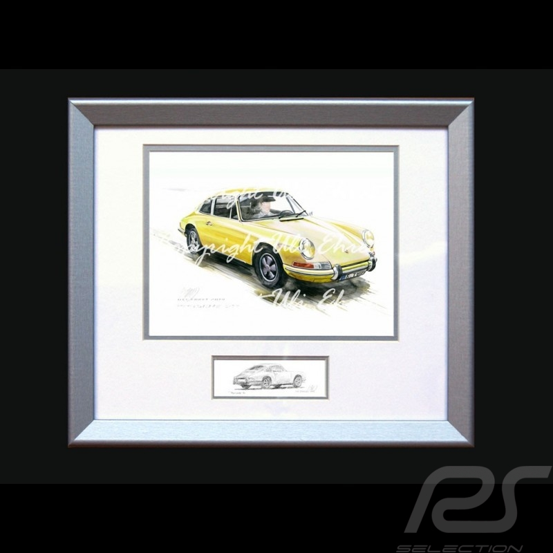 Porsche Poster 911 Classic yellow with frame limited edition signed by Uli Ehret - 527
