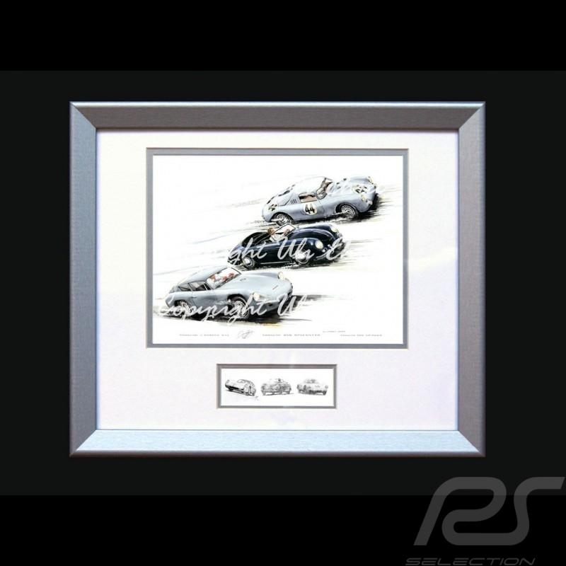 Porsche Poster Carrera GTL / 356 Speedster / 560 Spyder mit Rahmen limitierte Auflage signiert von Uli Ehret - 118