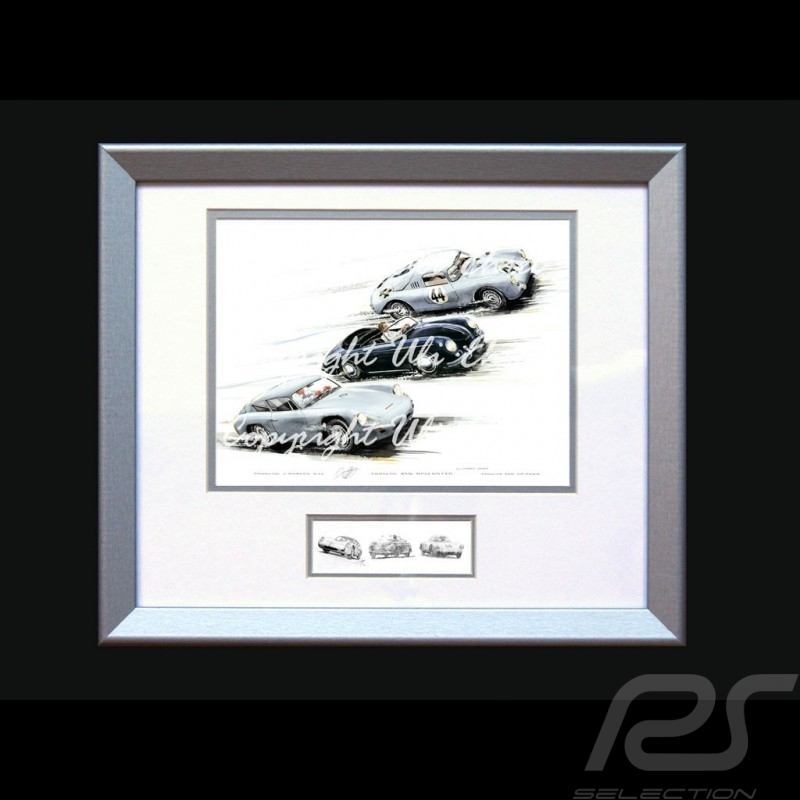 Affiche Porsche Carrera GTL / 356 Speedster / 560 Spyder avec cadre édition limitée signée Uli Ehret - 118 - Poster Plakat
