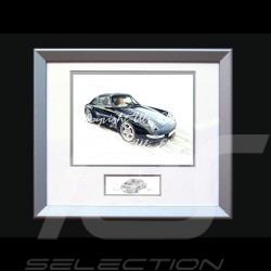 Affiche Porsche 911 type 993 Coupé noire avec cadre édition limitée signée Uli Ehret - 365 - Poster Plakat