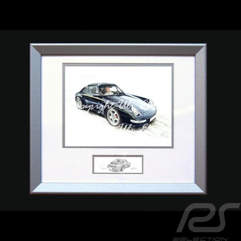 Porsche Poster 911 type 993 Coupé schwarz mit Rahmen limitierte Auflage signiert von Uli Ehret - 118