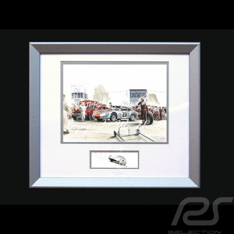 Porsche Poster 356 Abarth Goodwood 1962 n° 20 with frame limited edition signed by Uli Ehret - 426