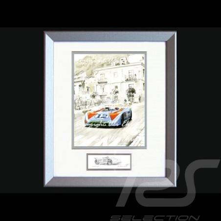 Affiche Porsche 908 /03 vainqueur Targa Florio 1970 n° 12 avec cadre édition limitée signée Uli Ehret - 371 - Poster Plakat