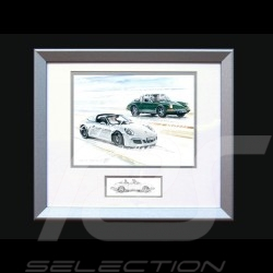 Porsche Poster Duo 911 Targa 1966 / 2016 with frame limited edition signed by Uli Ehret - 648