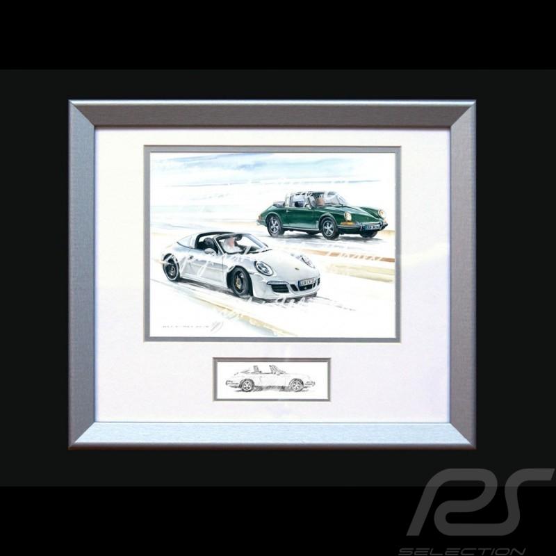 Affiche Porsche Duo 911 Targa 1966 / 2016 avec cadre édition limitée signée Uli Ehret - 648 - Poster Plakat