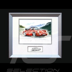Affiche Porsche 911 type 964 Turbo Cabrio rouge avec cadre édition limitée signée Uli Ehret - 598 - Poster Plakat