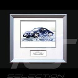 Affiche Porsche 911 type 996 Cabrio noire avec cadre édition limitée signée Uli Ehret - 104 Poster Plakat