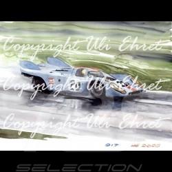 Affiche Porsche 917 K Gulf n° 20 sous la pluie avec cadre édition limitée signée Uli Ehret - 27 - Poster Plakat