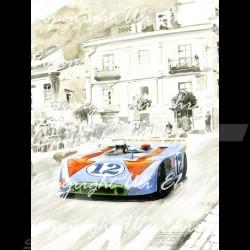 Porsche Poster 908 /03 winner Targa Florio 1970 n° 12 with frame limited edition signed by Uli Ehret - 371