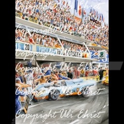 Porsche Poster 917 K Le Mans the movie 1970 n° 20 with frame limited edition signed by Uli Ehret - 318