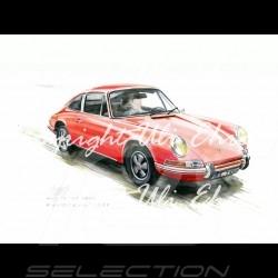 Porsche Poster 911 Klassische rot mit Rahmen limitierte Auflage signiert von Uli Ehret - 527
