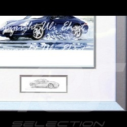 Porsche Poster 911 type 996 Cabrio black with frame limited edition signed by Uli Ehret - 104