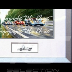 Porsche Poster 917 K Gulf n° 21 und 22 voller Geschwindigkeit mit Rahmen limitierte Auflage signiert von Uli Ehret - 111