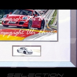 Porsche Poster 911 type type 991 Spa red with frame limited edition signed by Uli Ehret - 628