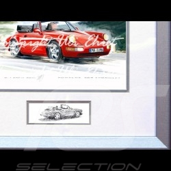 Porsche Poster 911 type 964 Turbo Cabrio red with frame limited edition signed by Uli Ehret - 598