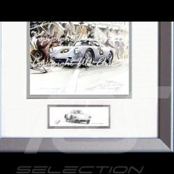 Porsche Poster 550 A Le Mans 1956 n° 25 mit Rahmen limitierte Auflage signiert von Uli Ehret - 309