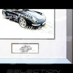 Porsche Poster 911 type 993 Coupé black with frame limited edition signed by Uli Ehret - 365