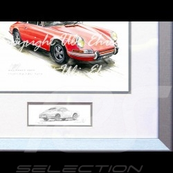 Porsche Poster 911 Classic red with frame limited edition signed by Uli Ehret - 527