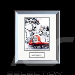 Porsche 917 LH n° 12 1969 white red with pilot wood frame aluminum with black and white sketch Limited edition Uli Ehret - 27