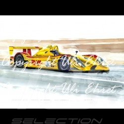 Porsche RS Spyder n° 6 yellow DHL wood frame aluminum with black and white sketch Limited edition Uli Ehret - 27