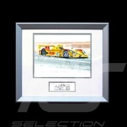 Porsche RS Spyder n° 6 gelb DHL Aluminium Rahmen mit Schwarz-Weiß Skizze Limitierte Auflage Uli Ehret - 27