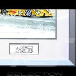 Porsche RS Spyder n° 6 jaune DHL cadre bois alu avec esquisse noir et blanc Edition limitée Uli Ehret - 66