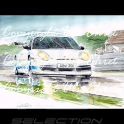 Porsche 911 type 996 GTR weiß blaue Streifen Aluminium Rahmen mit Schwarz-Weiß Skizze Limitierte Auflage Uli Ehret - 82