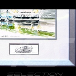 Porsche 911 type 996 GTR white blue stripes wood frame aluminum with black and white sketch Limited edition Uli Ehret - 82
