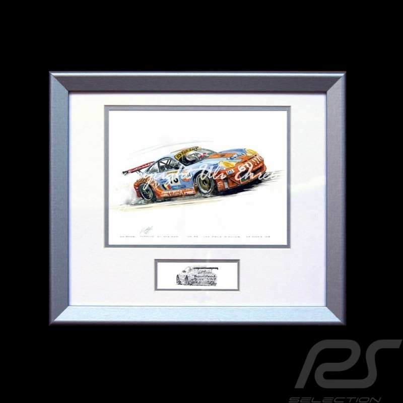 Porsche 911 type 996 GT3 RSR n° 73 Gulf Go on wood frame aluminum with black and white sketch Limited edition Uli Ehret - 86
